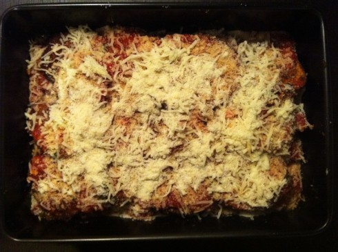 Eggplant Parm Before It Heads into the Oven!